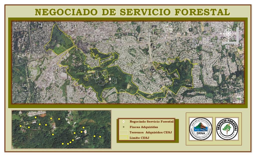Mapa de terrenos adquiridos en el Bosque del Nuevo Milenio en el Corredor Ecológico de San Juan
