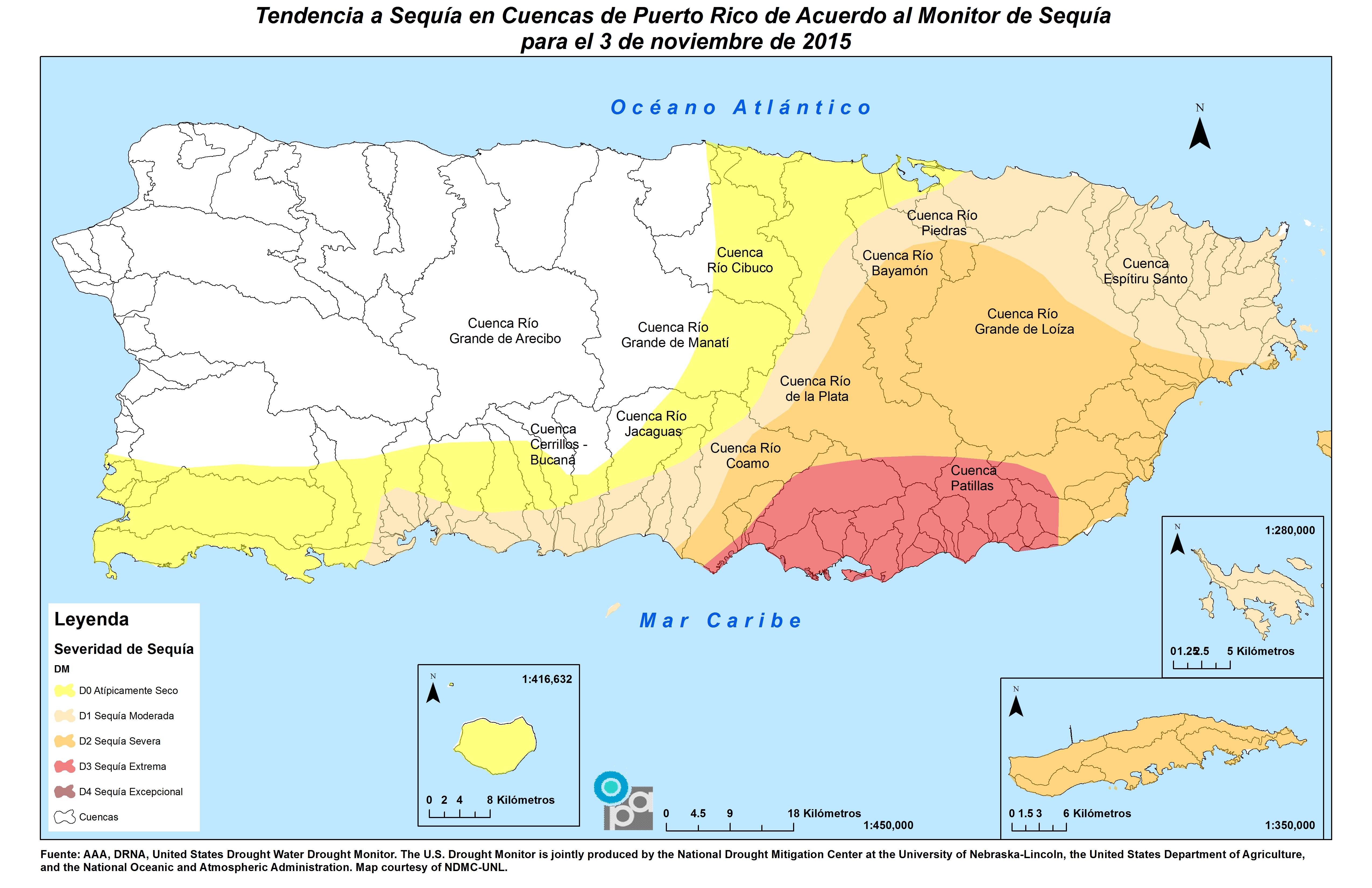 Mapa de cuencas al 5 de noviembre de 2015