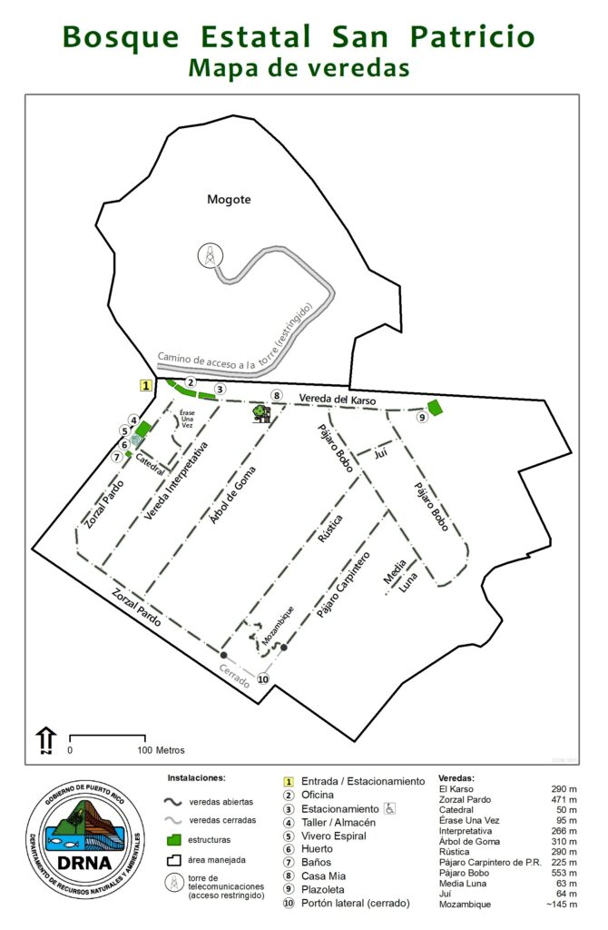 Mapa de veredas del Bosque San Patricio
