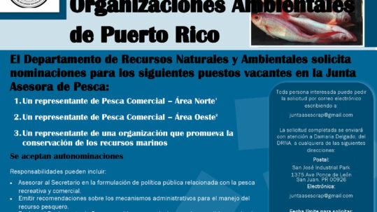 Aviso de solicitud de nominaciones para puestos vacantes en la Junta Asesora de Pesca